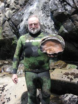 "Ken Bailey with 10.25"" abalone from Sea Ranch"
